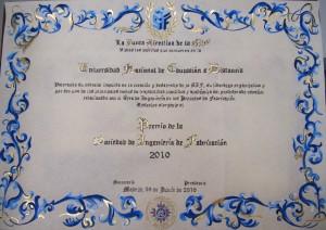 Premio SIF 2012 pergamino UNED 2
